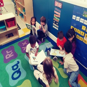 Children Reading and Socializing